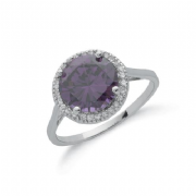 Sterling silver round amethyst and clear cubic zirconia halo ring
